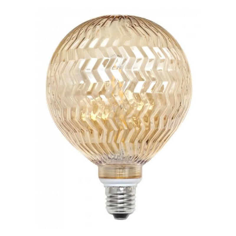 Bombilla decorativa led globo ondas cristal ambar