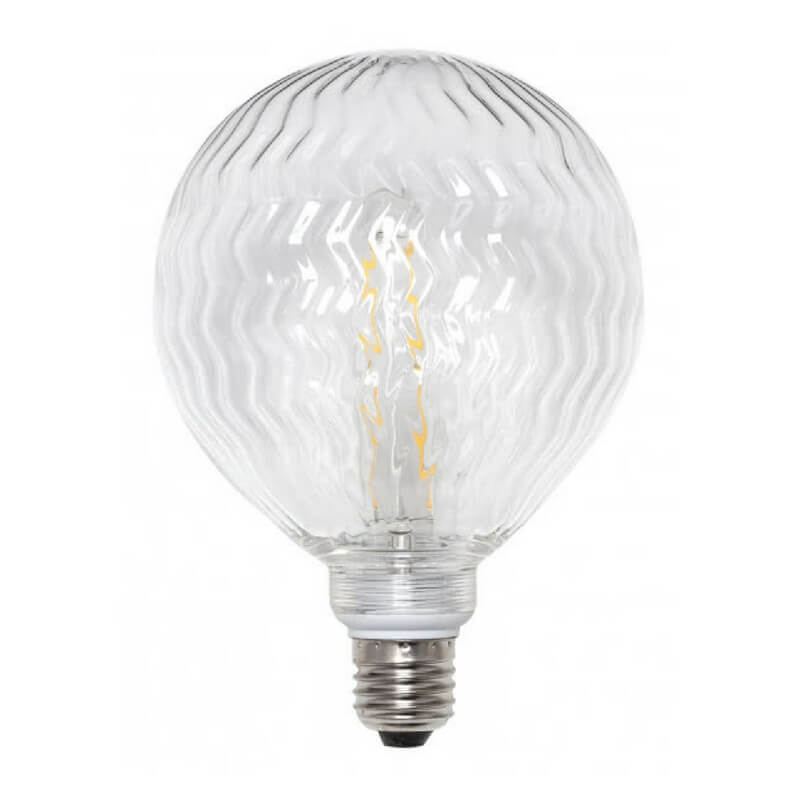 Bombilla decorativa led globo ondas cristal transparente