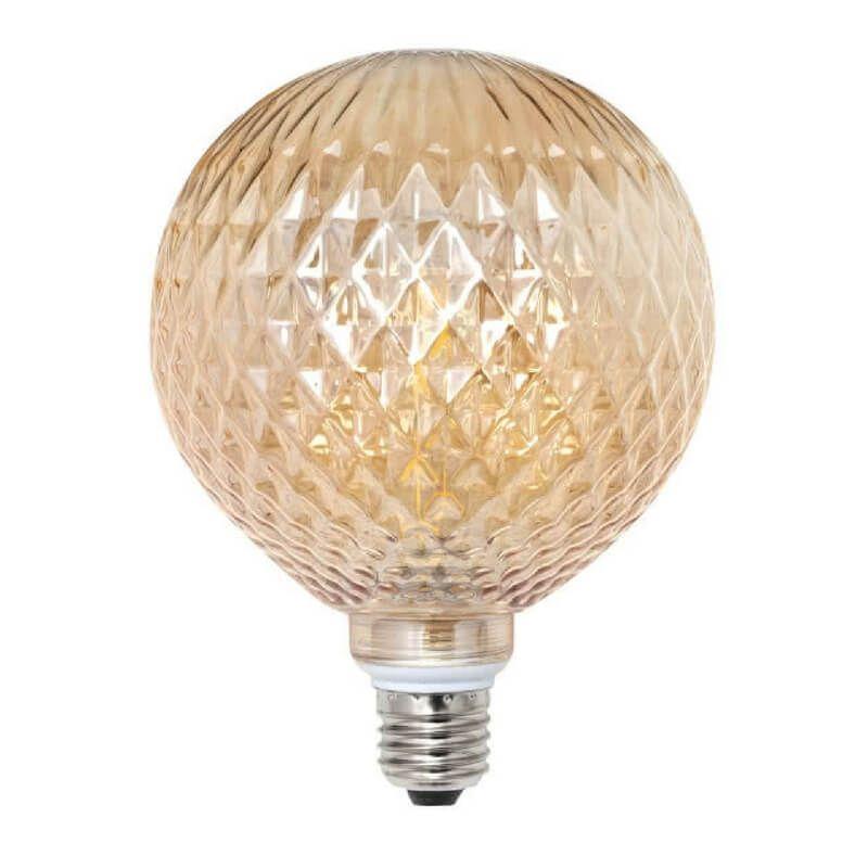 Bombilla led decorativa globo rombos cristal ámbar