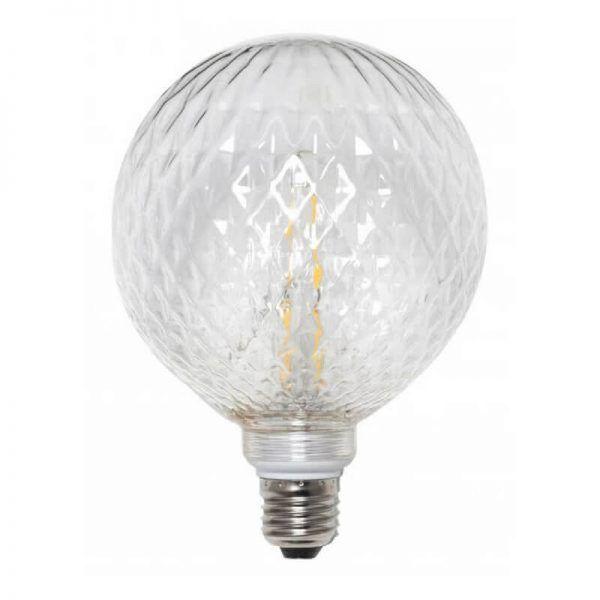 Bombilla led decorativa globo rombos cristal transparente