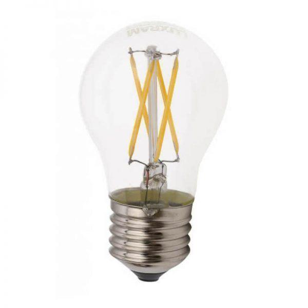 Bombilla esférica led de filamento cristal transparente E27 luz cálida
