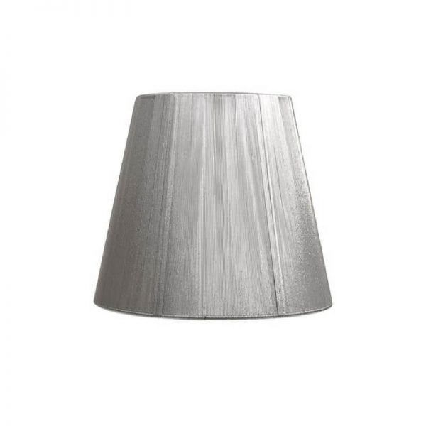 Pantalla de lámpara forma cónica hilo de seda color plata