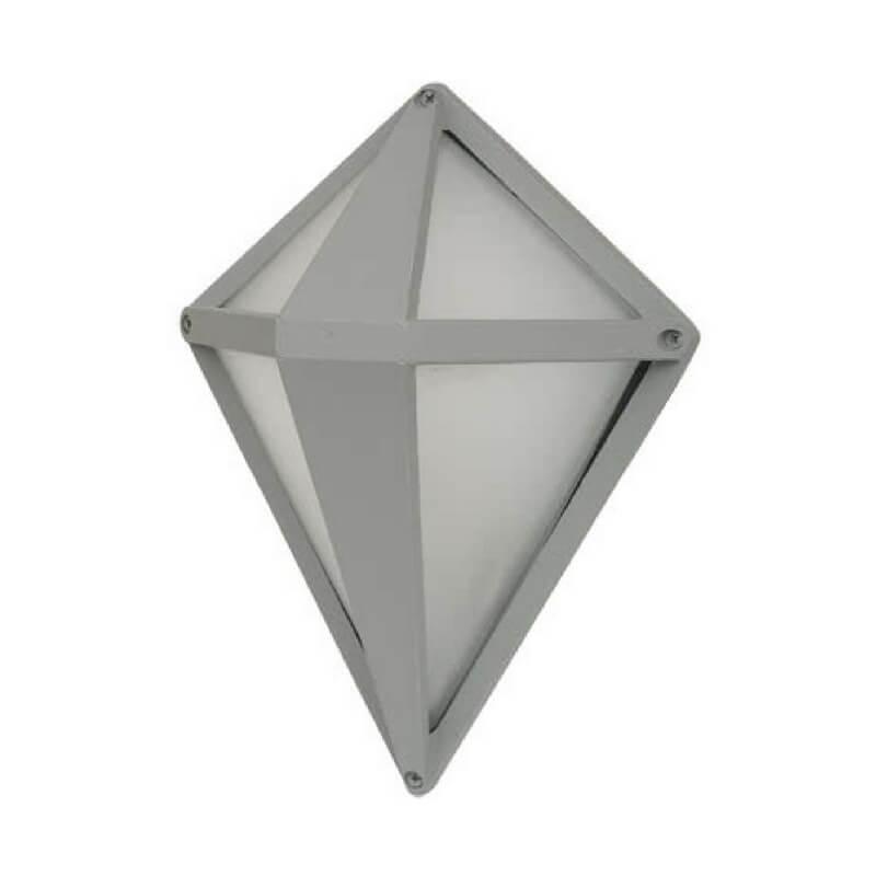 Aplique exterior de pared forma de rombo color gris