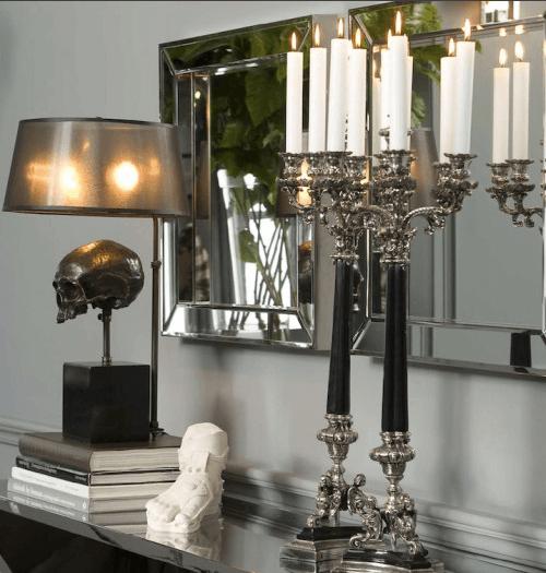 lámparas terroríficas halloween - lámpara calavera negra