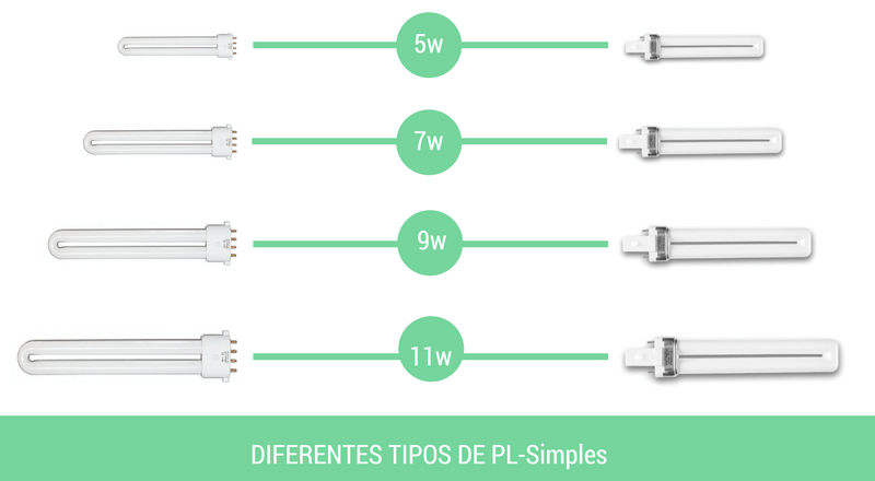 lámparas PL simples: modelos