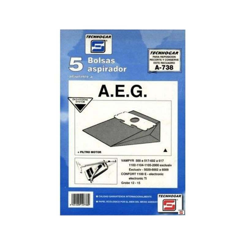 Bolsa de aspirador AEG 738