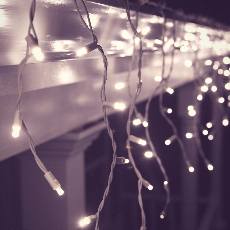Cortina carámbano 180 luces led cálidas