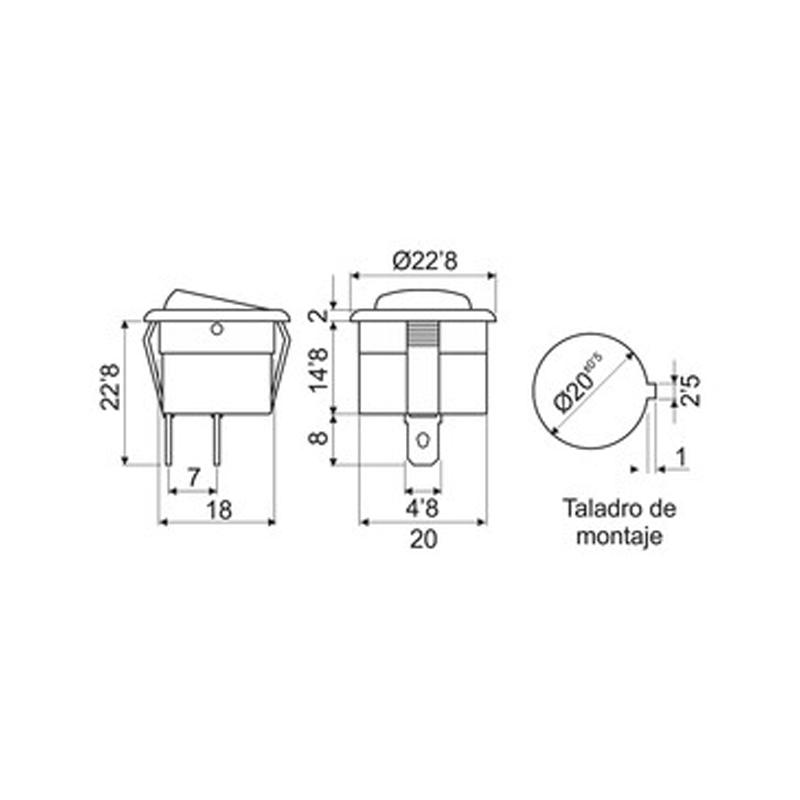 Interruptor mini redondo con luminoso medidas