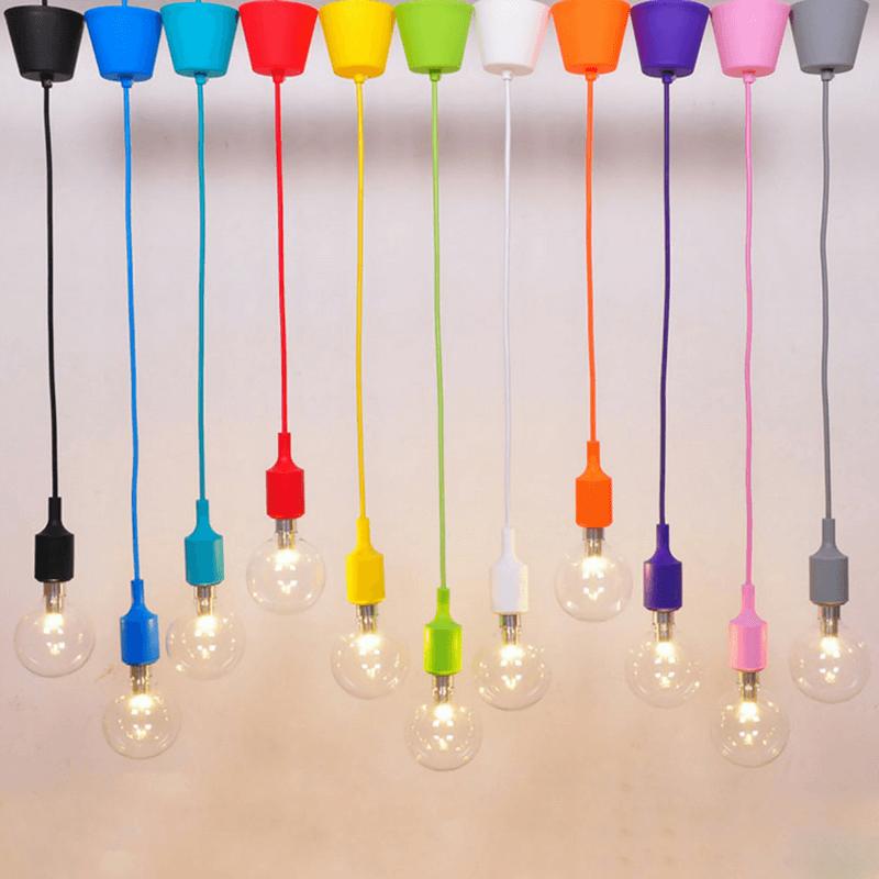 Portalámparas decorativos con cable textil varios colores