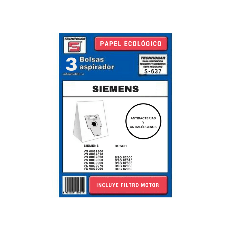 Bolsa de aspirador Siemens Bosch 637