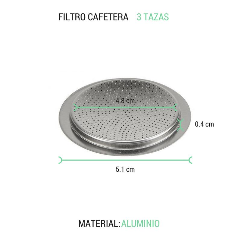 Filtro cafetera 3 tazas aluminio