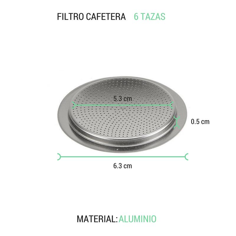 Filtro cafetera 6 tazas aluminio