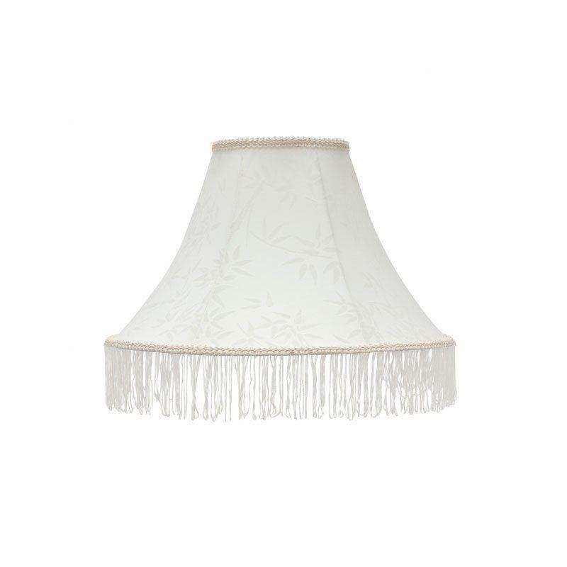 Pantalla de lampara blanca con flecos modelo geisha