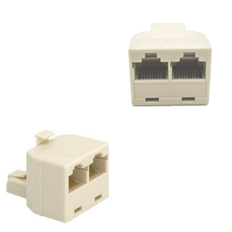 Duplicador conector de red RJ45 Indicado para conectar 2 cables de Internet a una sola toma. Conexión de 8 contactos.