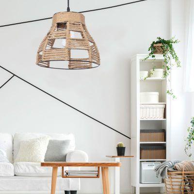 Lámpara colgante con cuerda serie Yute