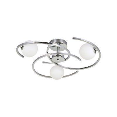 Lámpara de techo bolas blancas y detalles cromo 3 luces