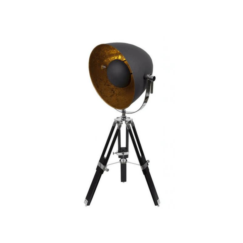 Lámpara sobremesa trípode estilo industrial serie Gutemberg color negro