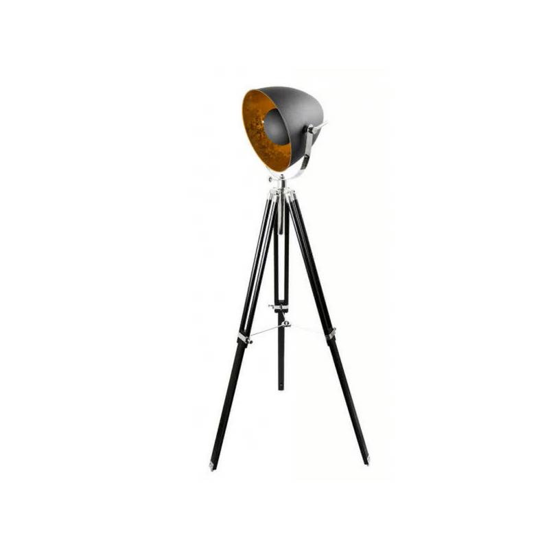 Lámpara trípode estilo industrial serie Gutenberg color negro