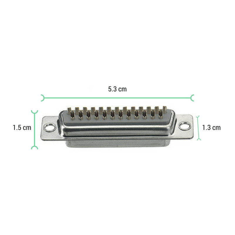 Conector Sub-D 25 pines hembra para soldar medidas