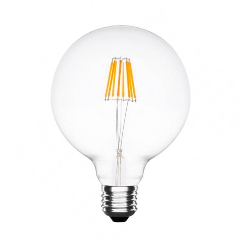 Bombilla globo led de filamento cristal transparente