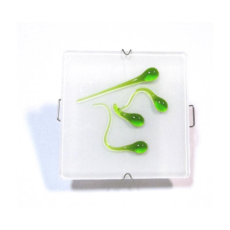 Aro empotrable cristal cuadrado con gotas verdes