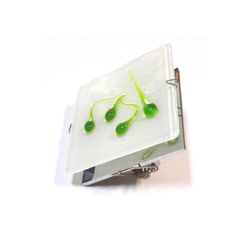 Aro empotrable cristal cuadrado con gotas verdes y base cromada