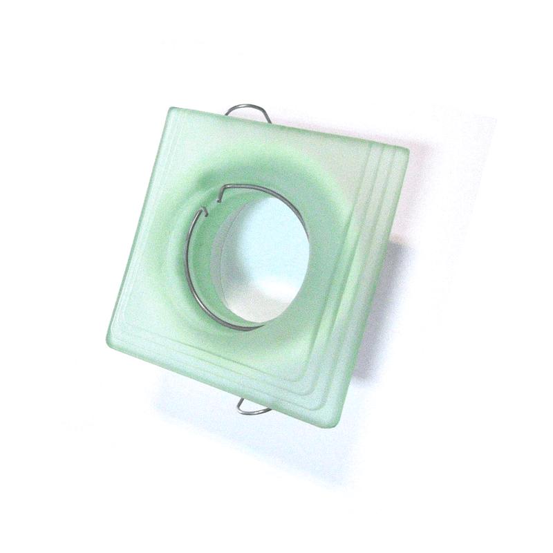 Aro empotrable cristal verde biselado fijo