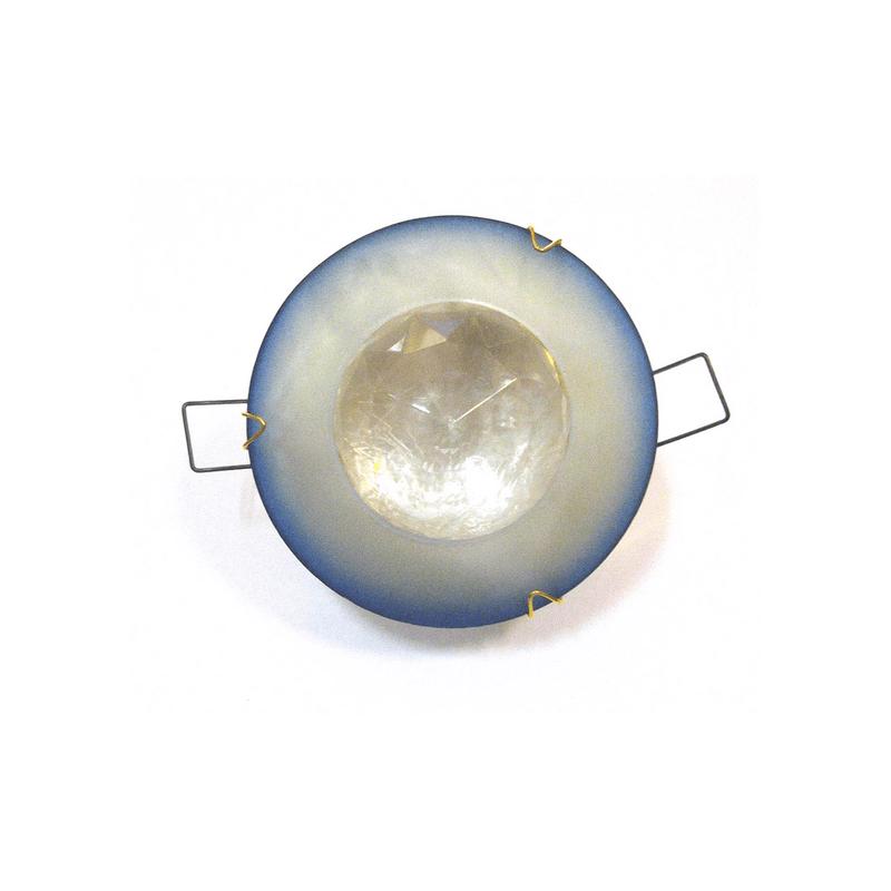 Aro empotrar cristal azul con diamante