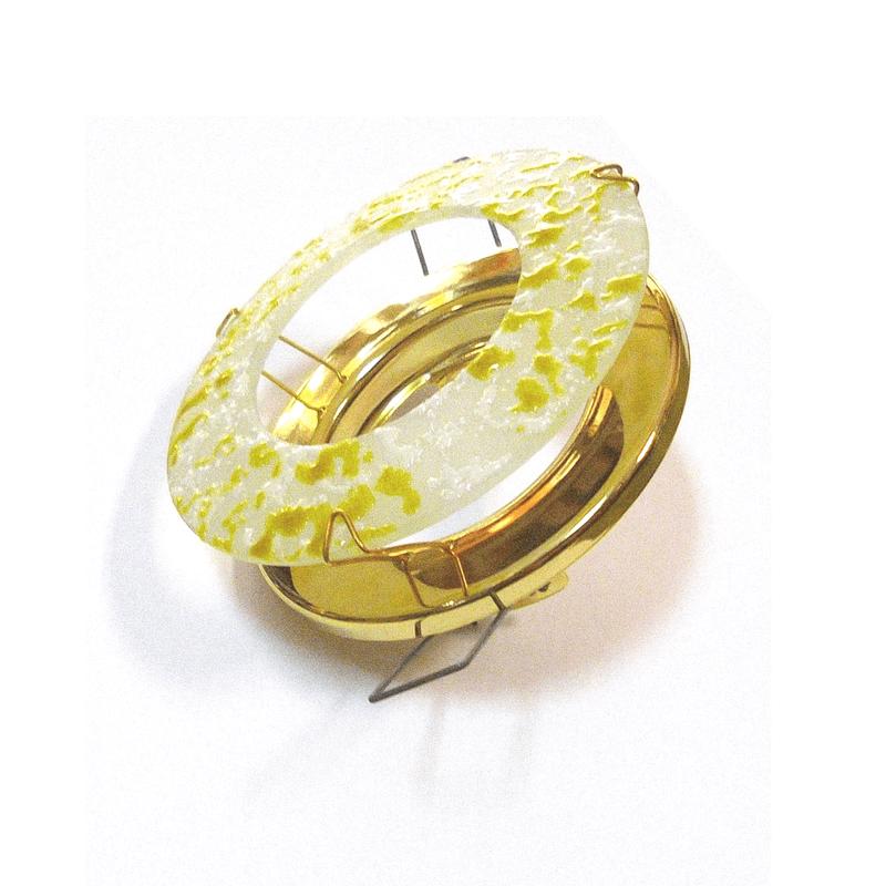 Aro empotrar cristal veteado amarillo y base oro brillo