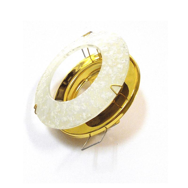 Aro empotrar cristal veteado blanco y base en oro brillo