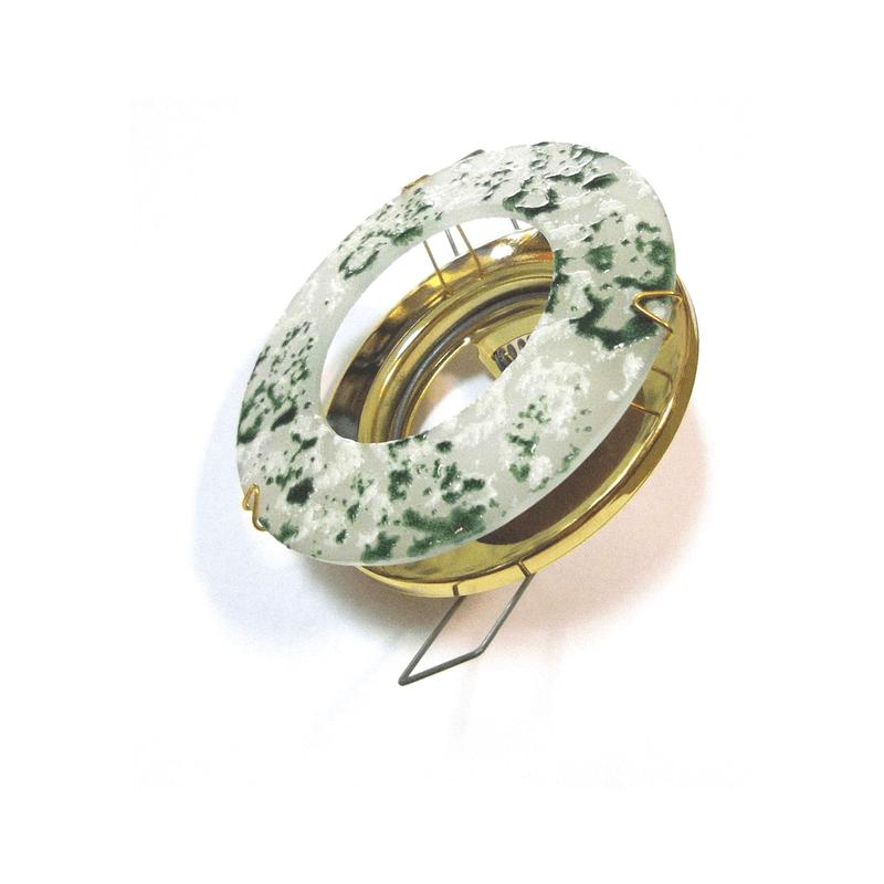 Aro empotrar cristal veteado verde y base en oro brillo
