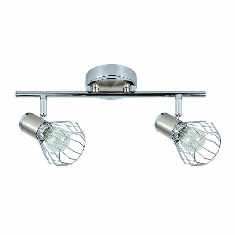 Lámpara de techo con 2 focos orientables tipo rejilla cromo niquel
