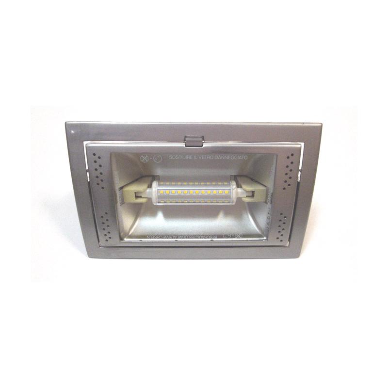Proyector rectangular para empotrar plata mate