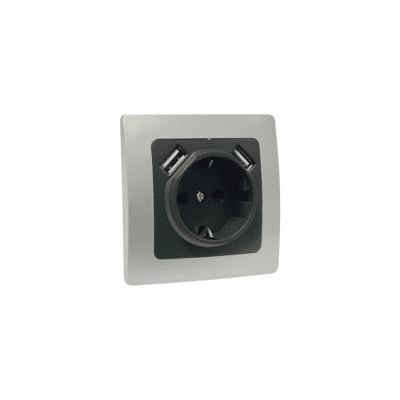 Base de enchufe empotrable con USB plata