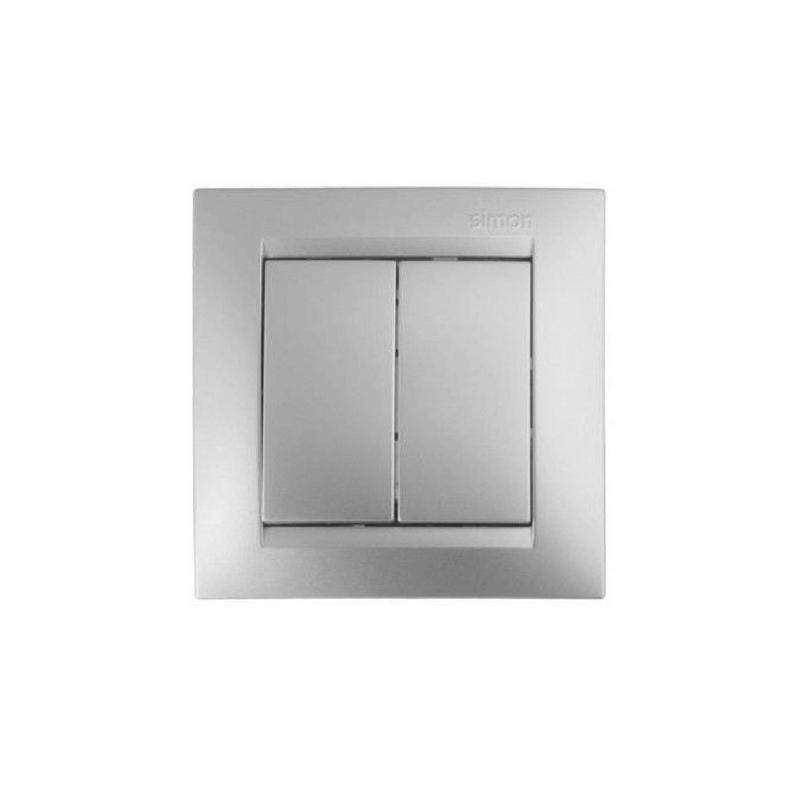 Conmutador doble plata mate SIMON 15