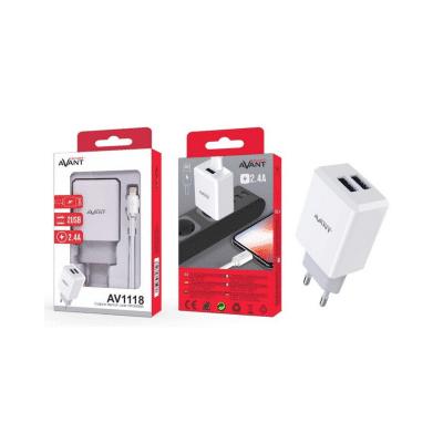 Cargador de corriente con cable lightning doble USB