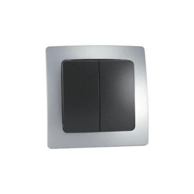 Doble conmutador empotrable plata serie Lille
