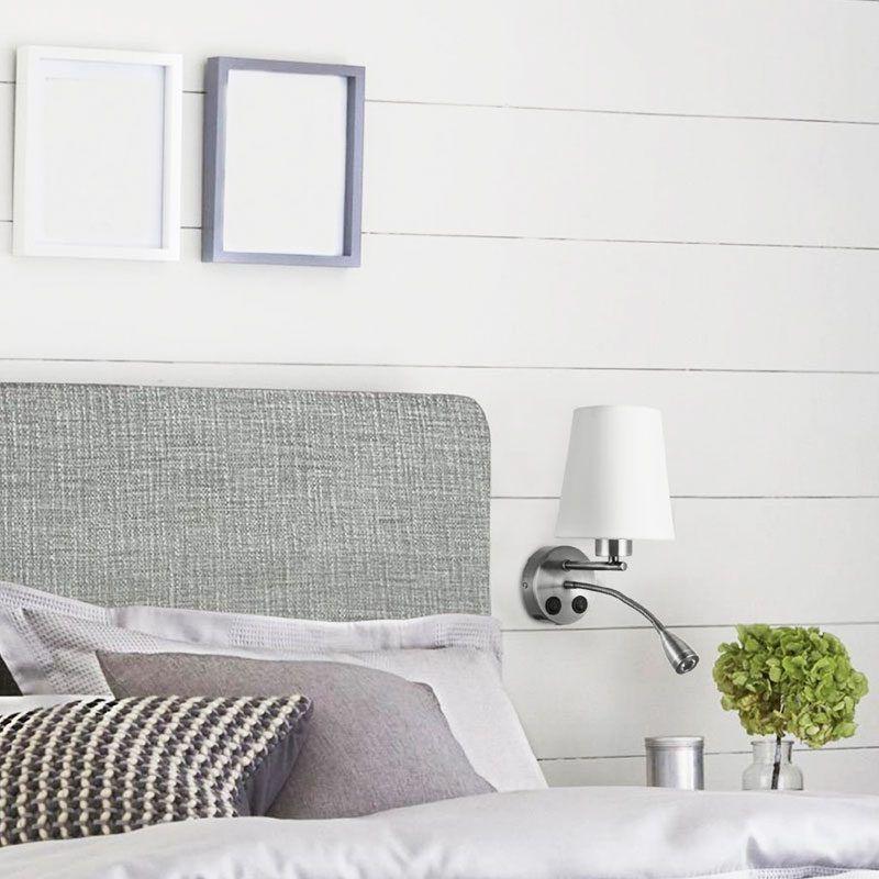 Aplique led de pared con interruptor con pantalla conica blanca y cuerpo cromado