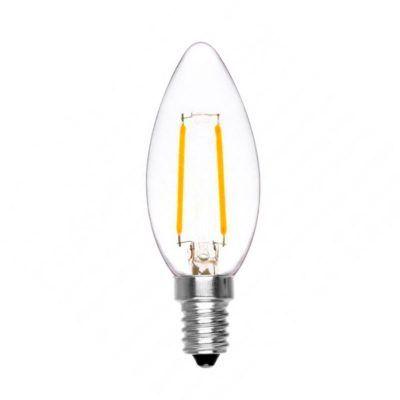 Bombilla vela led de filamento cristal transparente