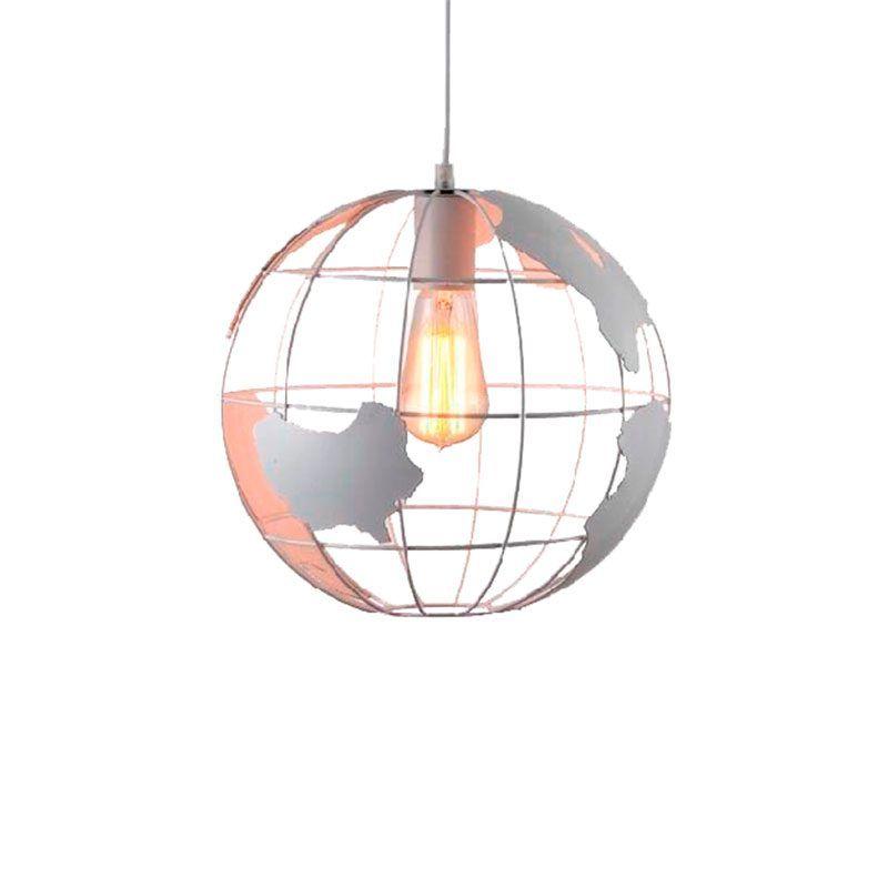 Lámpara colgante globo terráqueo color blanco