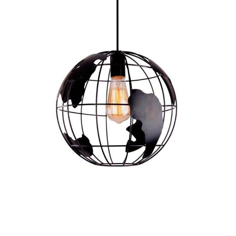Lámpara colgante globo terráqueo color negro