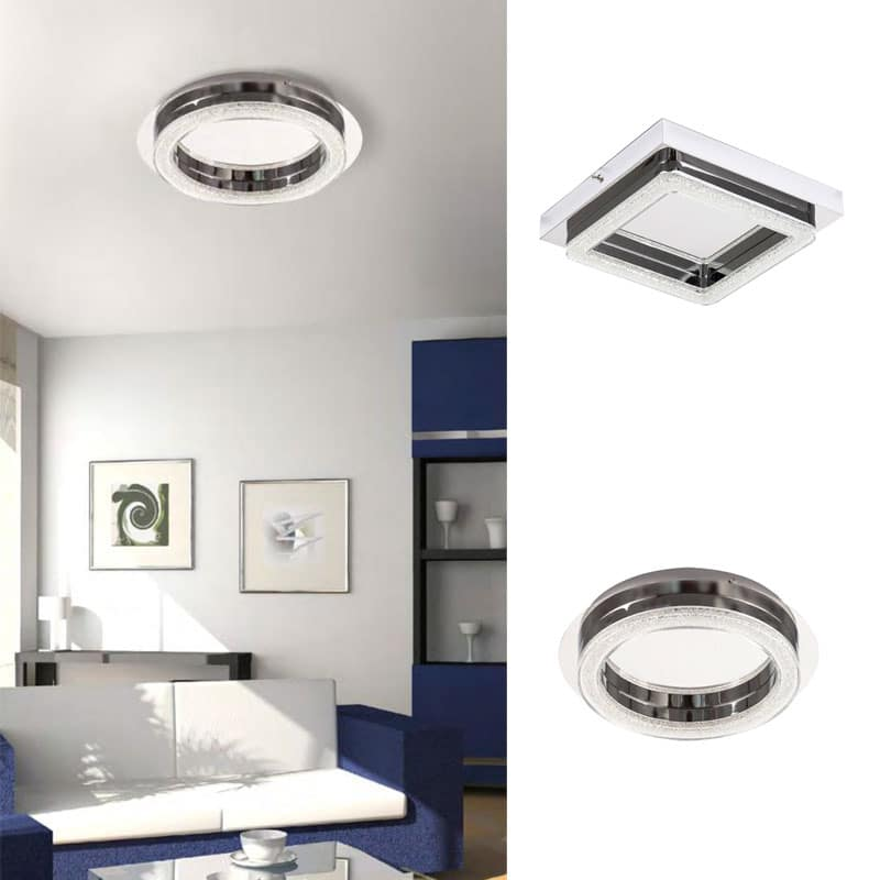Plafon led diseño metal y cristal