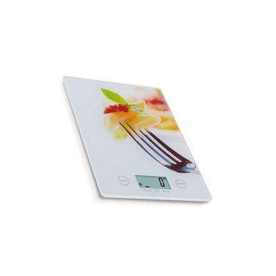 Báscula cocina digital extraplana con diseño de tenedor