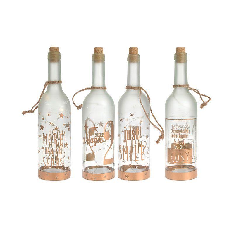 Botella con luz decoración navideña a pilas