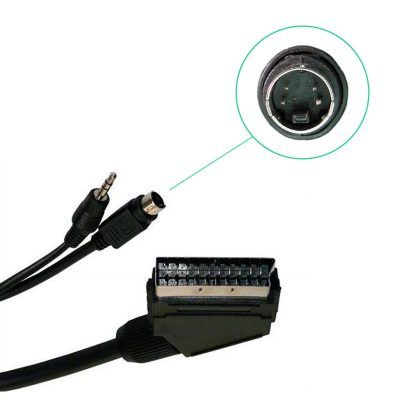 Euroconector a jack y mini din 4 pin