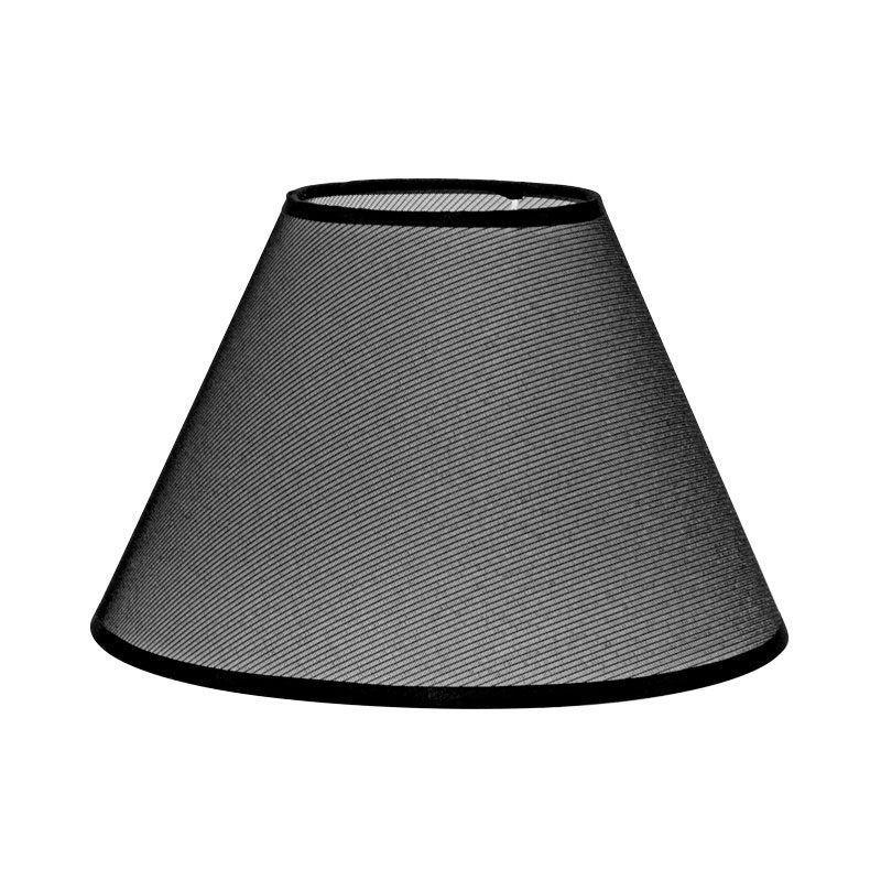 Pantalla lampara de mesa rejilla negra forma cónica