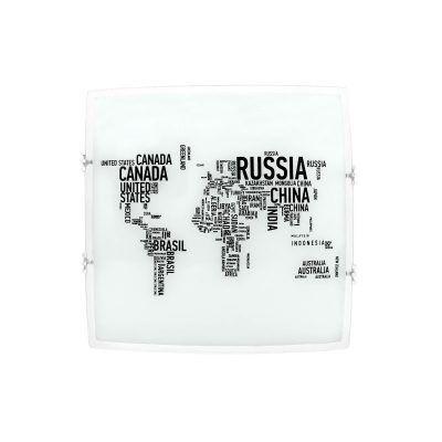 Plafón cuadrado mapa con letras