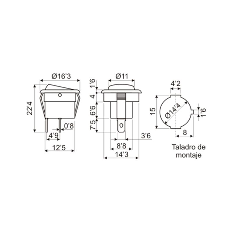 Interruptor redondo micro con luminoso medidas