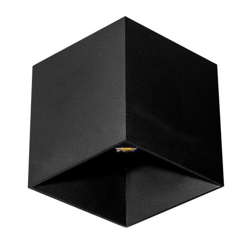 Aplique de pared led forma cubo color negro