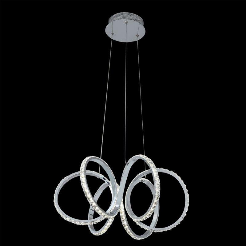 Lámpara colgante led modelo espiral cristal y cromo